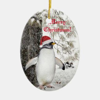 Ornamento De Cerâmica Natal do pinguim