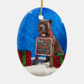 Ornamento De Cerâmica Natal do pitbull