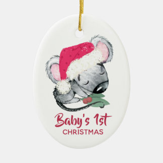 Ornamento De Cerâmica Natal do rato do bebê primeiro