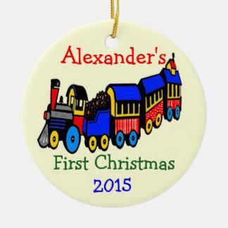 Ornamento De Cerâmica Natal do trem da foto e do brinquedo o primeiro
