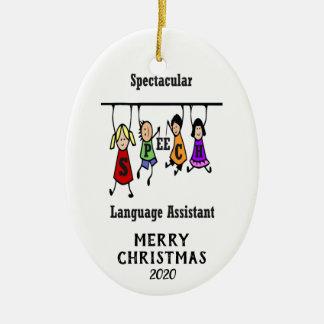 Ornamento De Cerâmica Natal espectacular do assistente da língua do