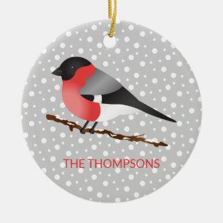 Ornamento De Cerâmica Natal euro-asiático do nome do Bullfinch & de