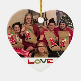 Ornamento De Cerâmica Natal feito sob encomenda da foto de família
