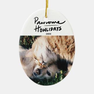 Ornamento De Cerâmica Natal feito sob encomenda da foto do cão de