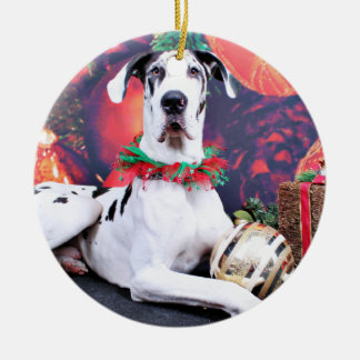 Ornamento De Cerâmica Natal - Harlequin great dane - Baron