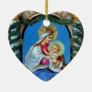 Ornamento De Cerâmica Natal - mãe Mary e Jesus