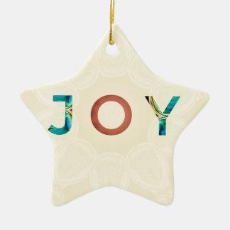 Ornamento De Cerâmica Natal moderno 'Joy do fundo de creme