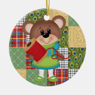 Ornamento De Cerâmica Natal ou aniversário estofando Sewing do urso da