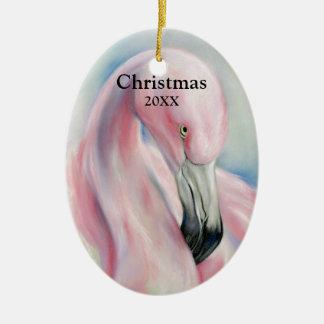 Ornamento De Cerâmica Natal Pastel da arte do flamingo cor-de-rosa