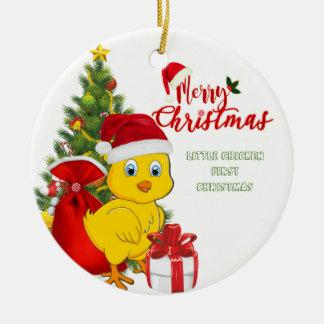 Ornamento De Cerâmica Natal pequeno da galinha do bebê