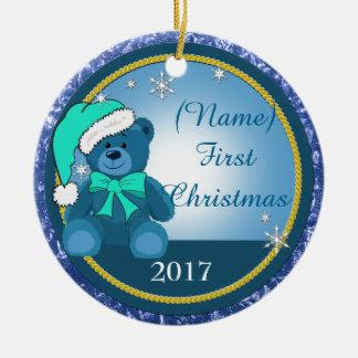 Ornamento De Cerâmica Natal personalizado azul do urso de ursinho do