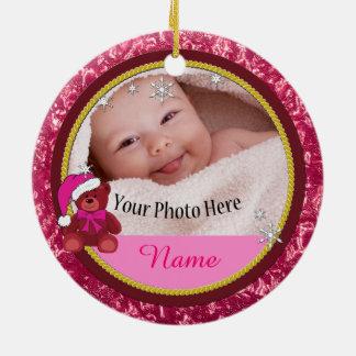 Ornamento De Cerâmica Natal personalizado cor-de-rosa do urso de ursinho
