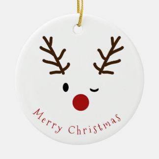 Ornamento De Cerâmica Natal pisc bonito da foto da rena de Rudolf
