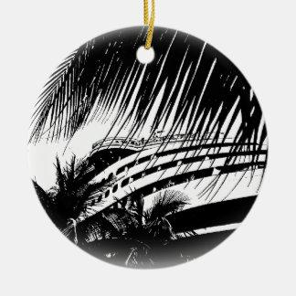 Ornamento De Cerâmica Natal preto e branco das férias | do navio de