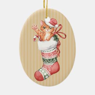 Ornamento De Cerâmica Natal que armazena a série: Gatinho do gengibre