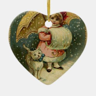 Ornamento De Cerâmica Natal retro da criança e do gato do vintage do