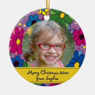 Ornamento De Cerâmica Natal roxo personalizado do quadro da foto da flor
