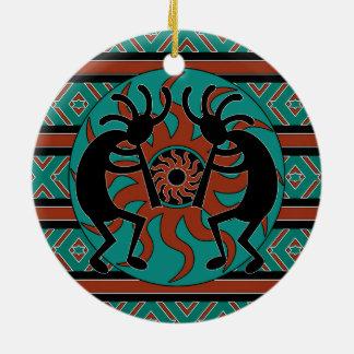 Ornamento De Cerâmica Natal tribal do sudoeste de Kokopelli de turquesa