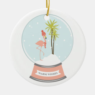 Ornamento De Cerâmica Natal tropical do flamingo da ilha - rosa