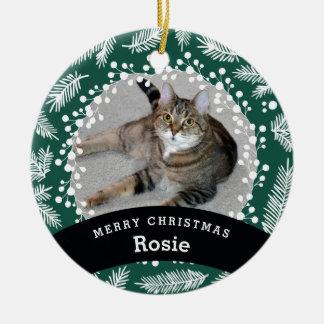 Ornamento De Cerâmica Natal verde personalizado animal de estimação
