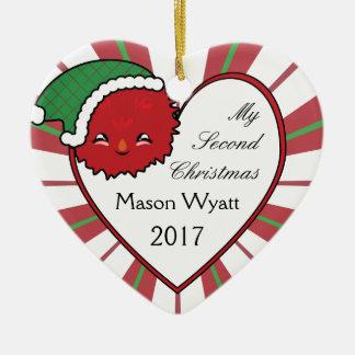 Ornamento De Cerâmica Natal vermelho 2017 da cesta do monstro de Kawaii