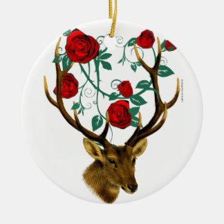 Ornamento De Cerâmica Natal vintage das videiras dos rosas dos Antlers
