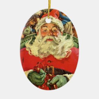 Ornamento De Cerâmica Natal vintage, Papai Noel no trenó com brinquedos