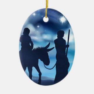 Ornamento De Cerâmica Natividade Mary e ilustração do Natal de Joseph