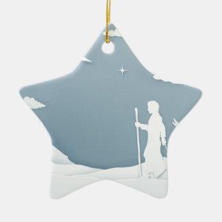 Ornamento De Cerâmica Natividade Mary Joseph e Bethlehem do Natal
