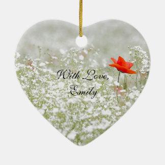 Ornamento De Cerâmica Natureza branca vermelha do prado da flor