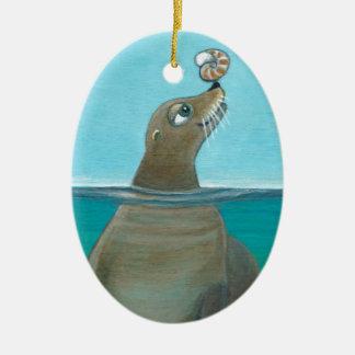"""Ornamento De Cerâmica """"Nautilus"""" o leão de mar"""