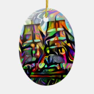 Ornamento De Cerâmica Navio da cor