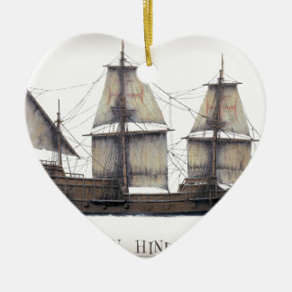 Ornamento De Cerâmica Navio de Hinde do ouro 1578