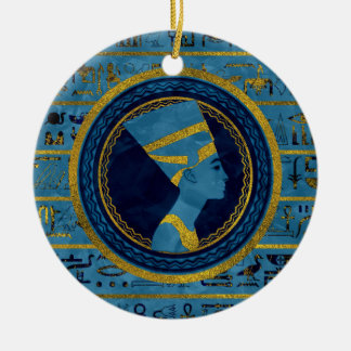 Ornamento De Cerâmica Nefertiti dourado na pedra de mármore azul
