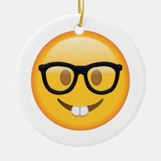 Ornamento De Cerâmica Nerd com vidros - Emoji