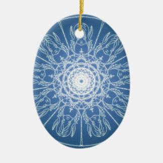 Ornamento De Cerâmica Neve espiral pagã de Wicca do Pentagram