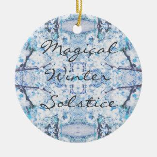 Ornamento De Cerâmica Neve feliz de Yule do solstício de inverno