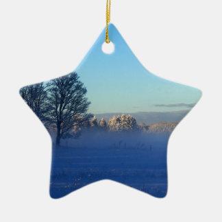 Ornamento De Cerâmica Névoa da neve do inverno