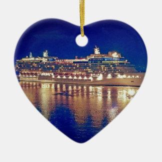 Ornamento De Cerâmica Nightlights impressionantes do navio que refletem
