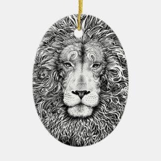 Ornamento De Cerâmica Ninho do leão preto e branco