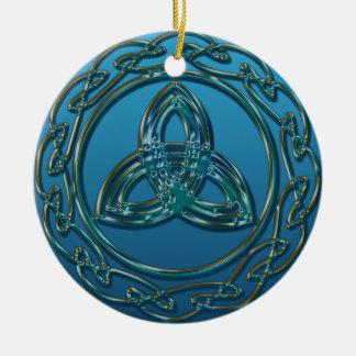 Ornamento De Cerâmica Nó celta da trindade do olhar antigo no verde azul
