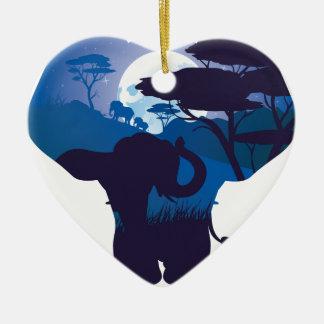 Ornamento De Cerâmica Noite africana com elefante 4