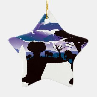 Ornamento De Cerâmica Noite africana com elefante 5