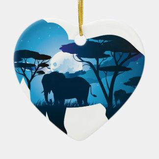 Ornamento De Cerâmica Noite africana com elefante 6