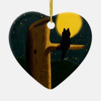 Ornamento De Cerâmica Noite do gato