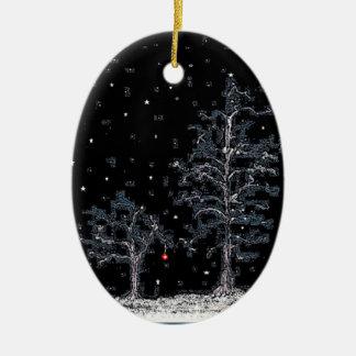 Ornamento De Cerâmica Noite estrelado do feriado