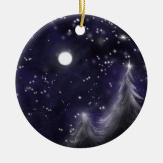 Ornamento De Cerâmica Noite estrelado dos invernos - cena romântica da