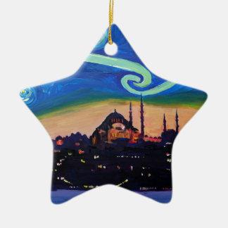 Ornamento De Cerâmica Noite estrelado em Istambul Turquia