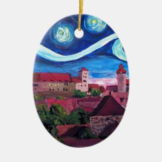 Ornamento De Cerâmica Noite estrelado em Nuremberg Alemanha com castelo