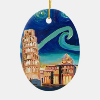 Ornamento De Cerâmica Noite estrelado em Pisa com torre inclinada